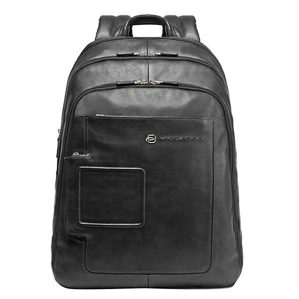 Piquadro Vibe Business Rucksack Leder 31 cm Laptopfach schwarz