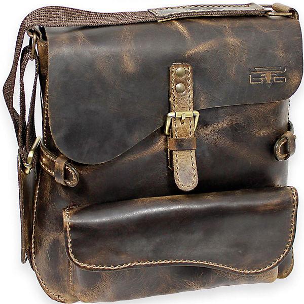 Mika Lederwaren Handtasche Umhängetasche Leder 30 cm braun