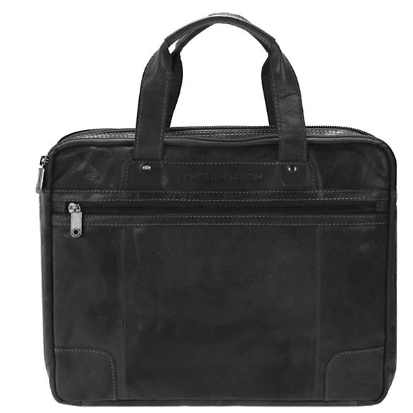 Spikes and Sparrow Bronco Business Handtasche Leder 36 cm schwarz