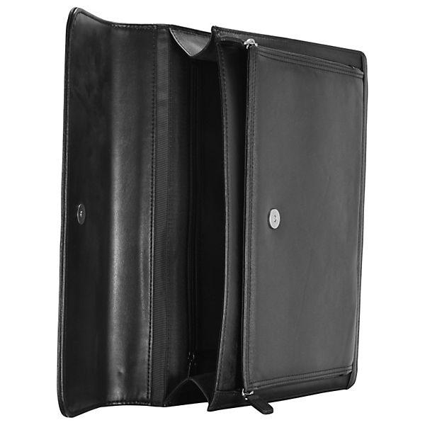 Dermata Aktentaschen Aktenmappe Leder 36,5 cm schwarz