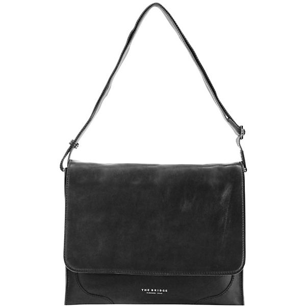 The Bridge Raw Uomo Umhängetasche Leder 36 cm Laptopfach schwarz