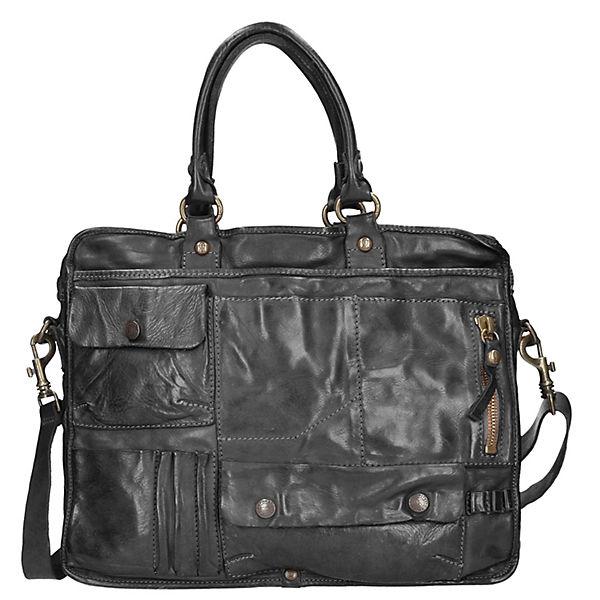 Campomaggi Lavaggio Handtasche Leder 37 cm Laptopfach schwarz
