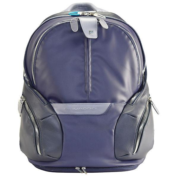 Piquadro Coleos Rucksack Leder 36 cm Laptopfach blau