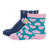 Baby Socken Doppelpack für Mädchen, Blumen und Herzen pink/marine