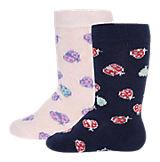 Baby Kniestrümpfe Doppelpack für Mädchen, Marienkäfer rosa/marine