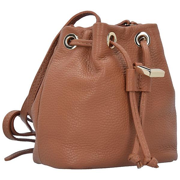 Patrizia Pepe Lock Fly Mini Bag Beuteltasche Leder 15 cm braun