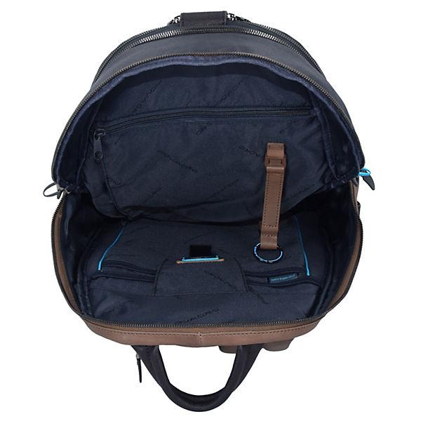 Coleos Rucksack Leder 36 cm Laptopfach blau