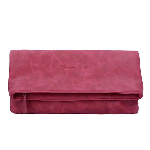 Ronja Clas Nubuk Clutch Tasche 29 cm rot