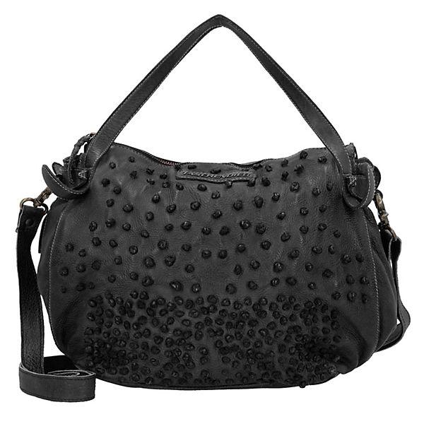 Handtasche Leder 28 cm dunkelgrau