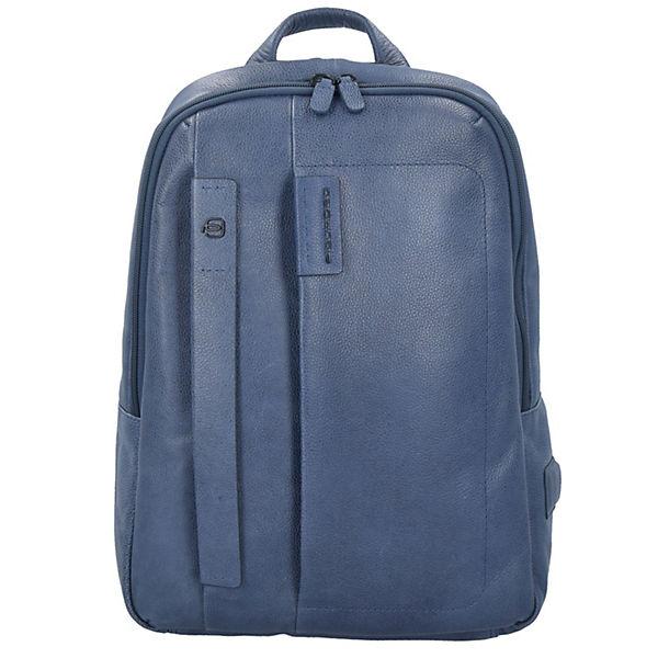 Piquadro Pulse Rucksack Leder 40 cm Laptopfach blau