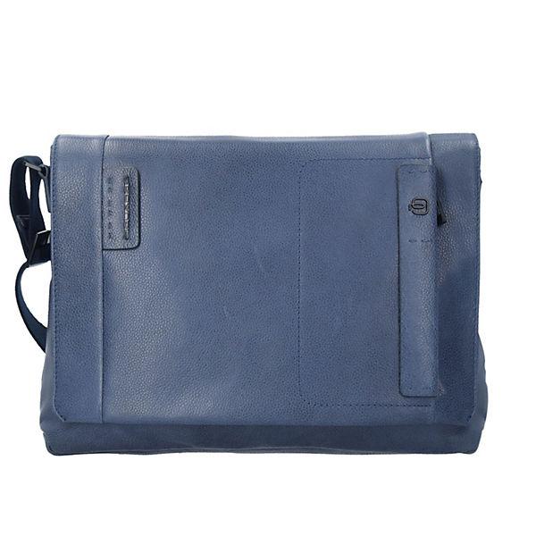 Piquadro P15S Messenger Bag Aktentasche Leder 37 cm Laptopfach blau