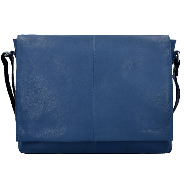 Greenburry Pure A4 Messenger Bag Tasche Leder 37 cm Laptopfach blau