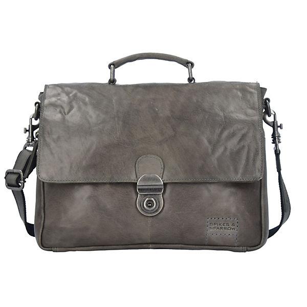 Spikes and Sparrow Bronco Messenger Bag Tasche Leder 35 cm Laptopfach grau