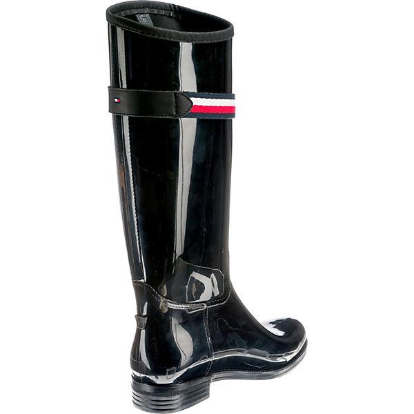 Stiefel Klassische schwarz BOOT LONG CORPORATE RAIN TOMMY HILFIGER BELT xwzq6wYU0