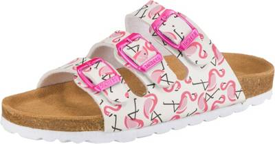 RICHTER, Pantoletten BIOS für Mädchen, Flamingos, weiß