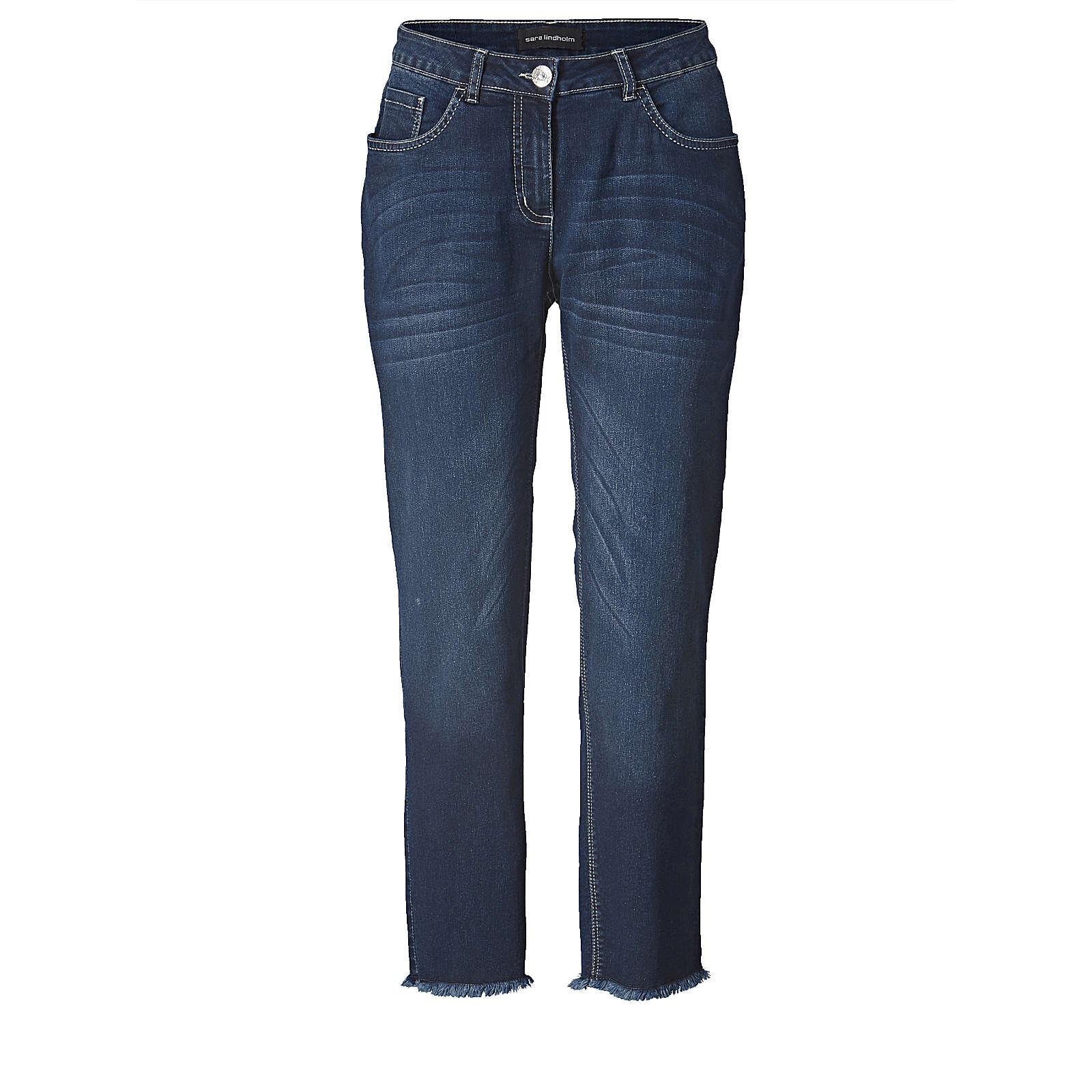 Sara Lindholm Straight Cut Jeans knöchellang mit Fransensaum dunkelblau Damen Gr. 50