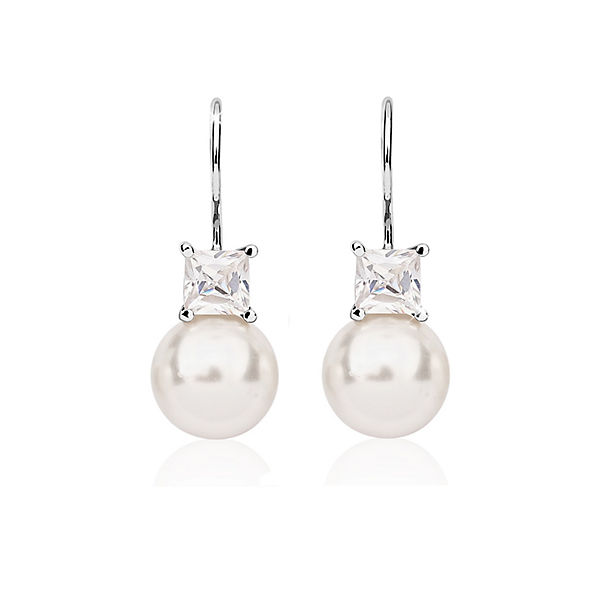 2a12a8780804 Nenalina, Ohrringe Perle Swarovski® Kristalle Zirkonia 925er Silber, silber    mirapodo