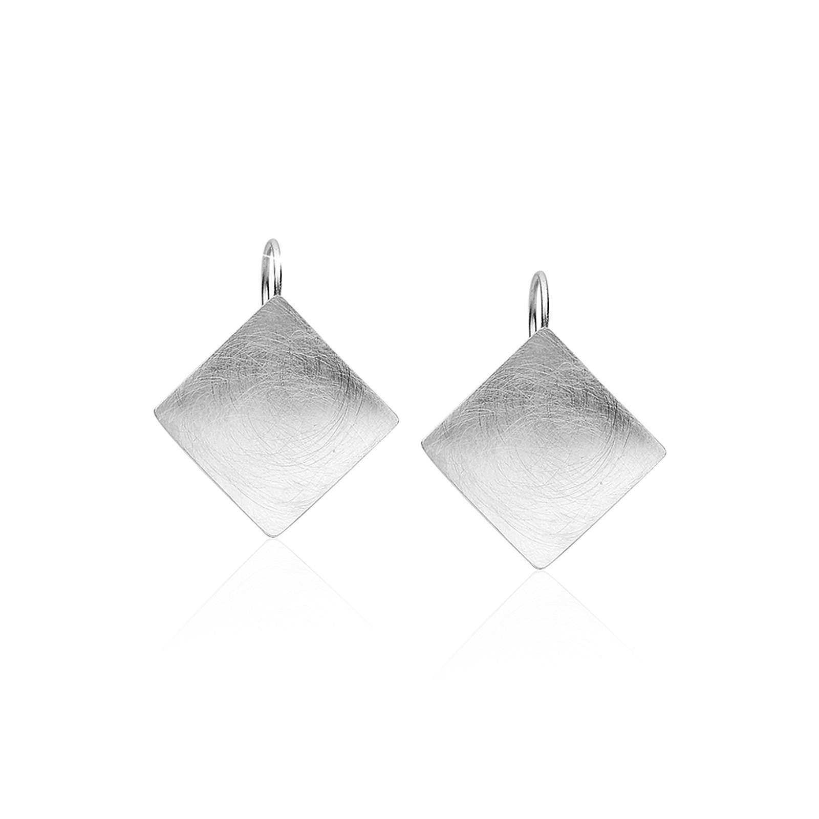 Nenalina Ohrringe Basic Geo Viereck Brushed Trend 925 Silber Ohrhänger silber Damen