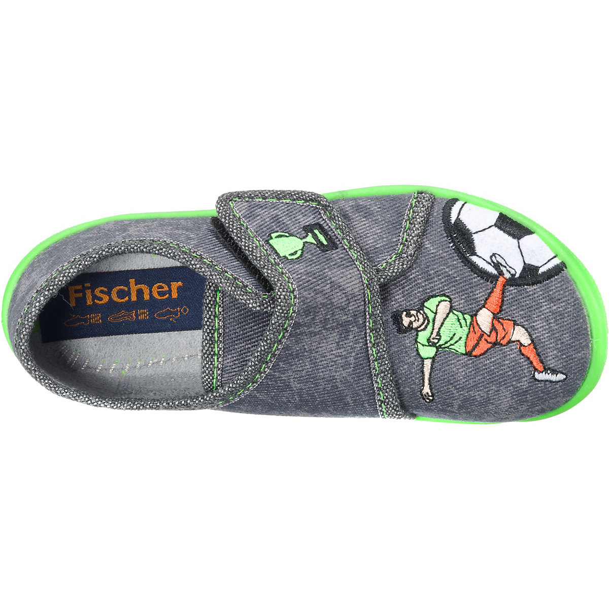 Fischer-markenschuh, Hausschuhe Für Jungen, Fußball, Grau