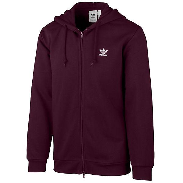 Hoodie Bekleidung Trefoil Adidas Fleece Sweatjacken Rot Originals PkXOiuTwZ