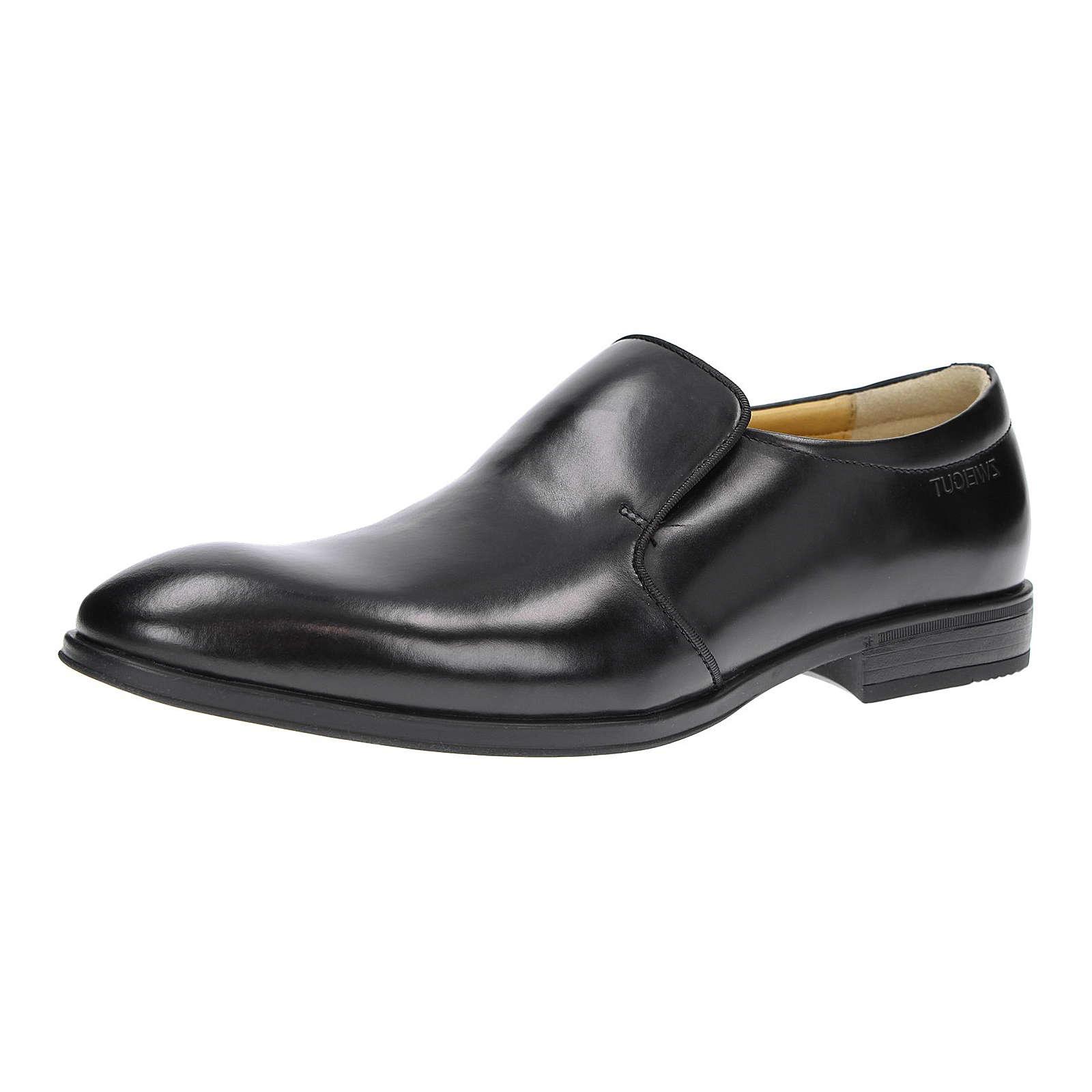 ZWEIGUT® Business Komfort-König smuck #274 Herren Leder Slip-On Loafer schwarz Herren Gr. 42