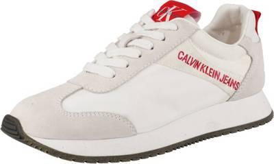 CALVIN KLEIN JEANS, JILL NYLONSUEDE Sneakers Low, weiß