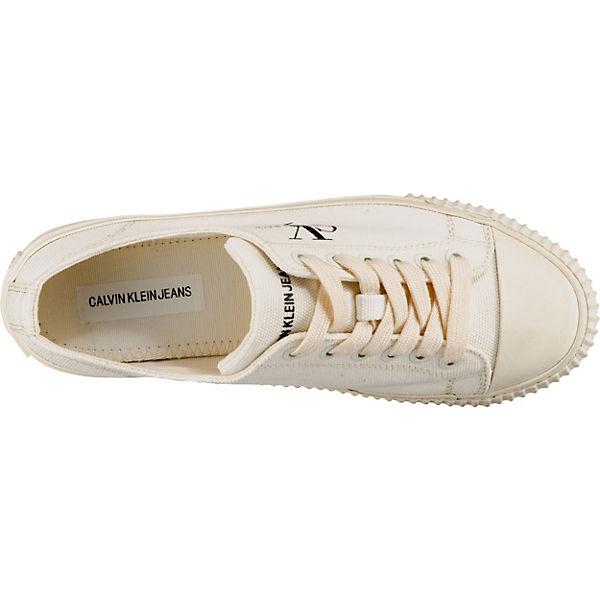 Canvas Jeans Weiß Ireland Klein Low Calvin Sneakers qnpSwxCZB