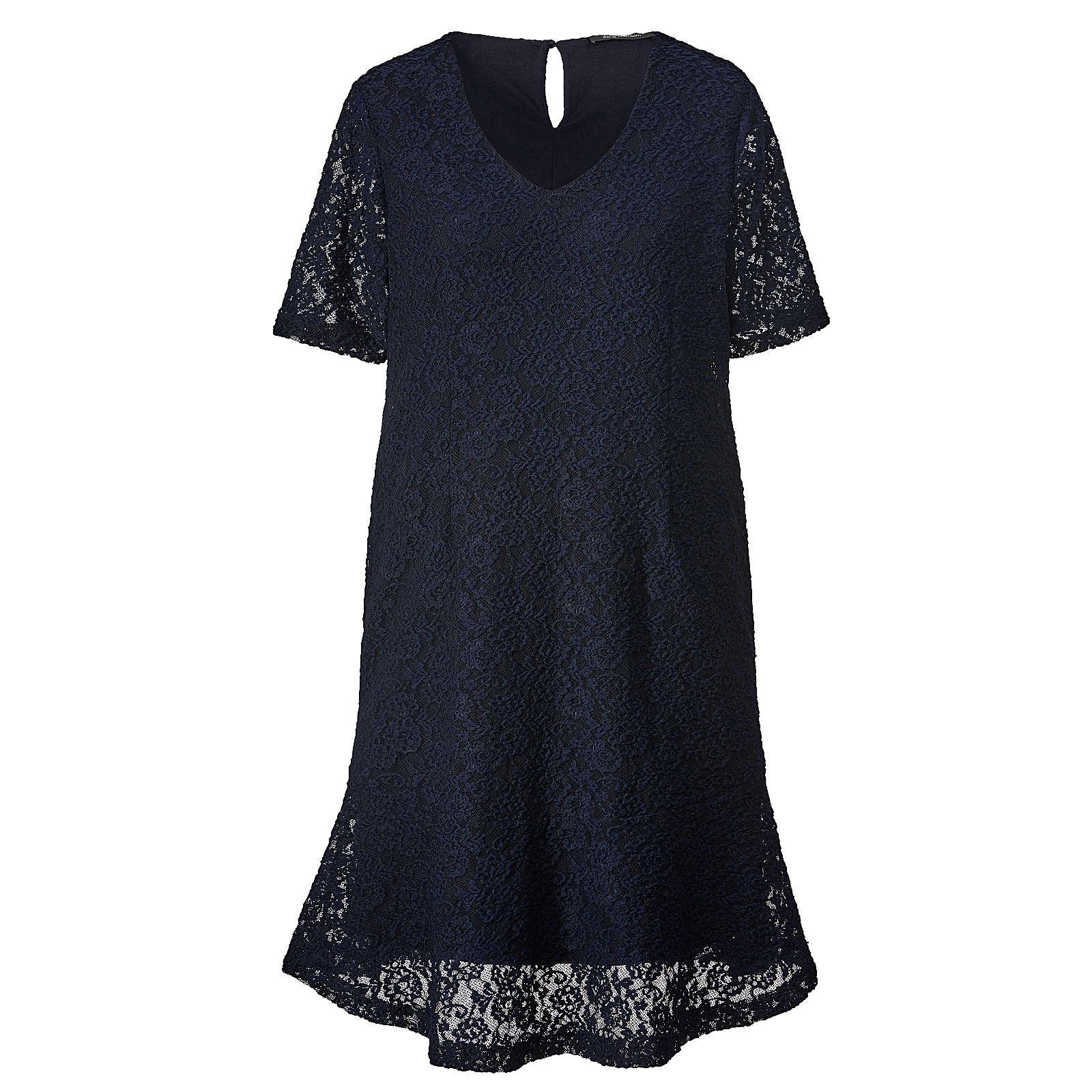 Sara Lindholm Kleid aus Spitze dunkelblau Damen Gr. 42