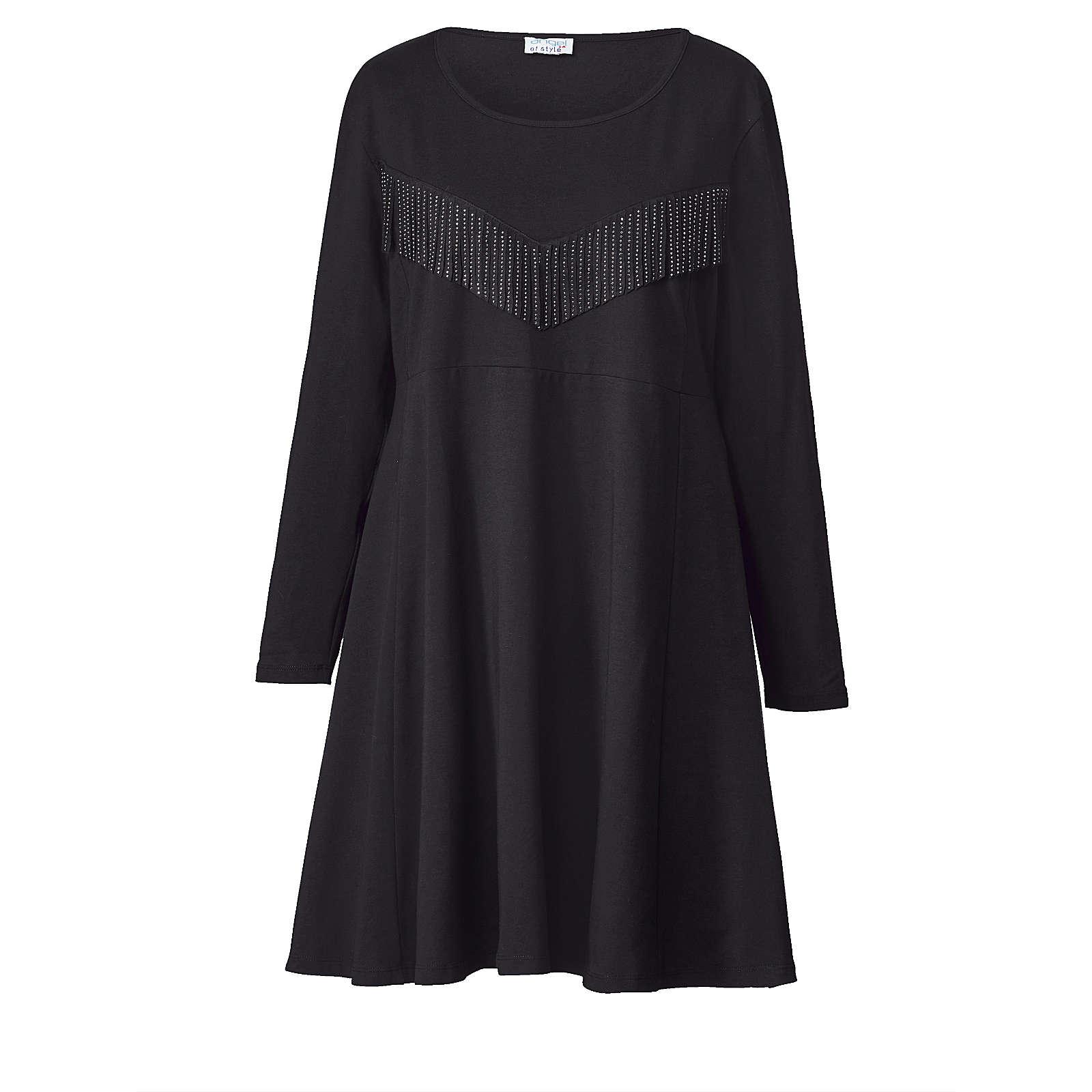 Angel of Style Jersey-Kleid mit Fransen schwarz Damen Gr. 48
