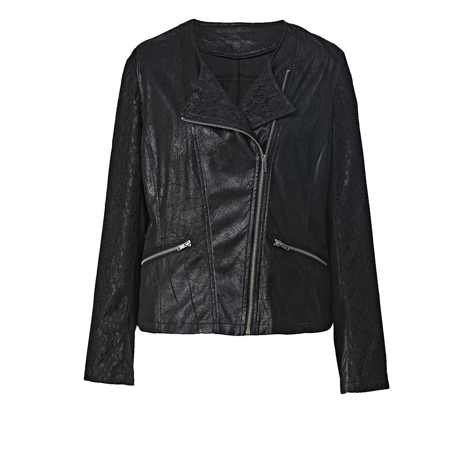 Angel of Style Lederimitat-Jacke mit Spitze schwarz Damen Gr. 58