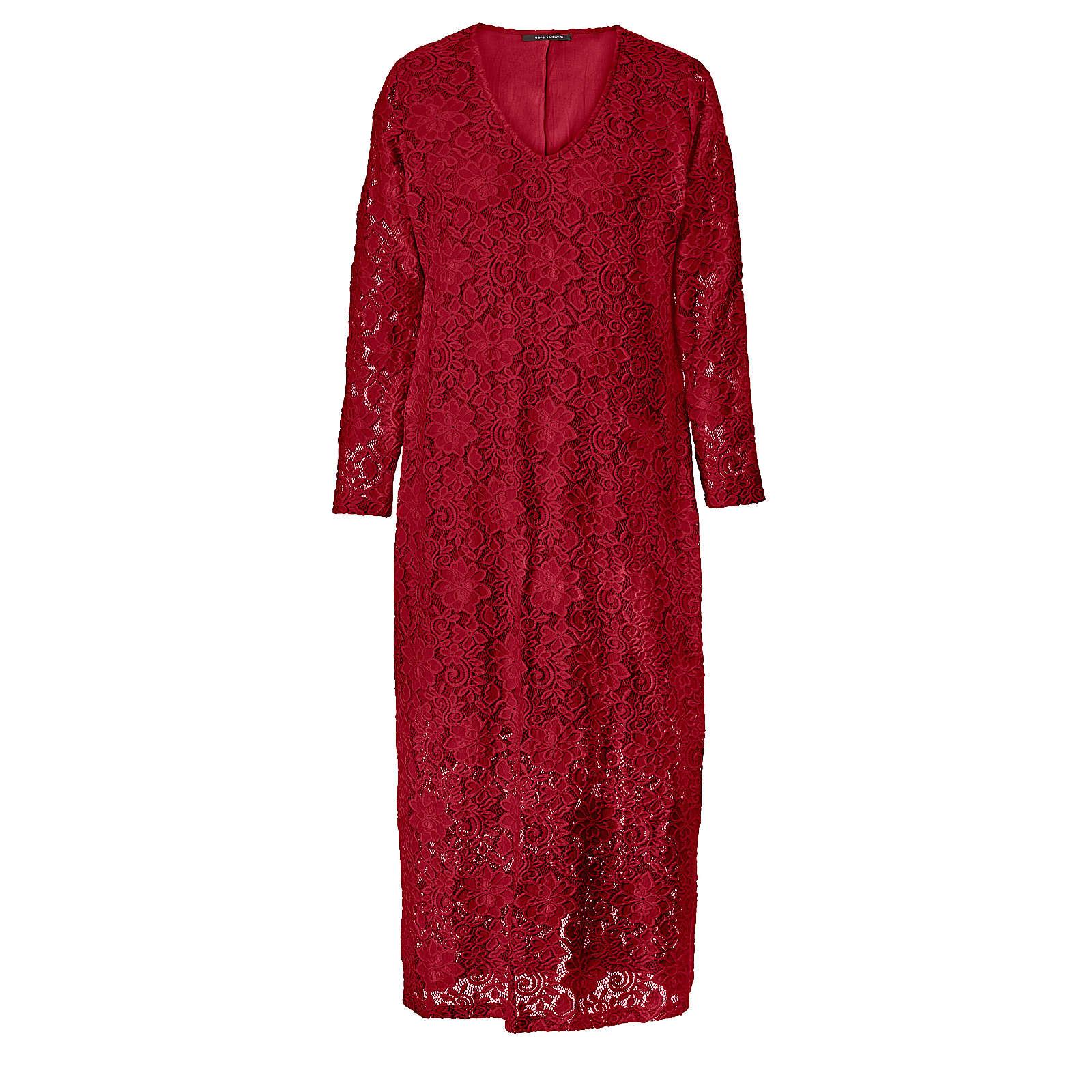 Sara Lindholm Kleid aus Spitze rot Damen Gr. 48