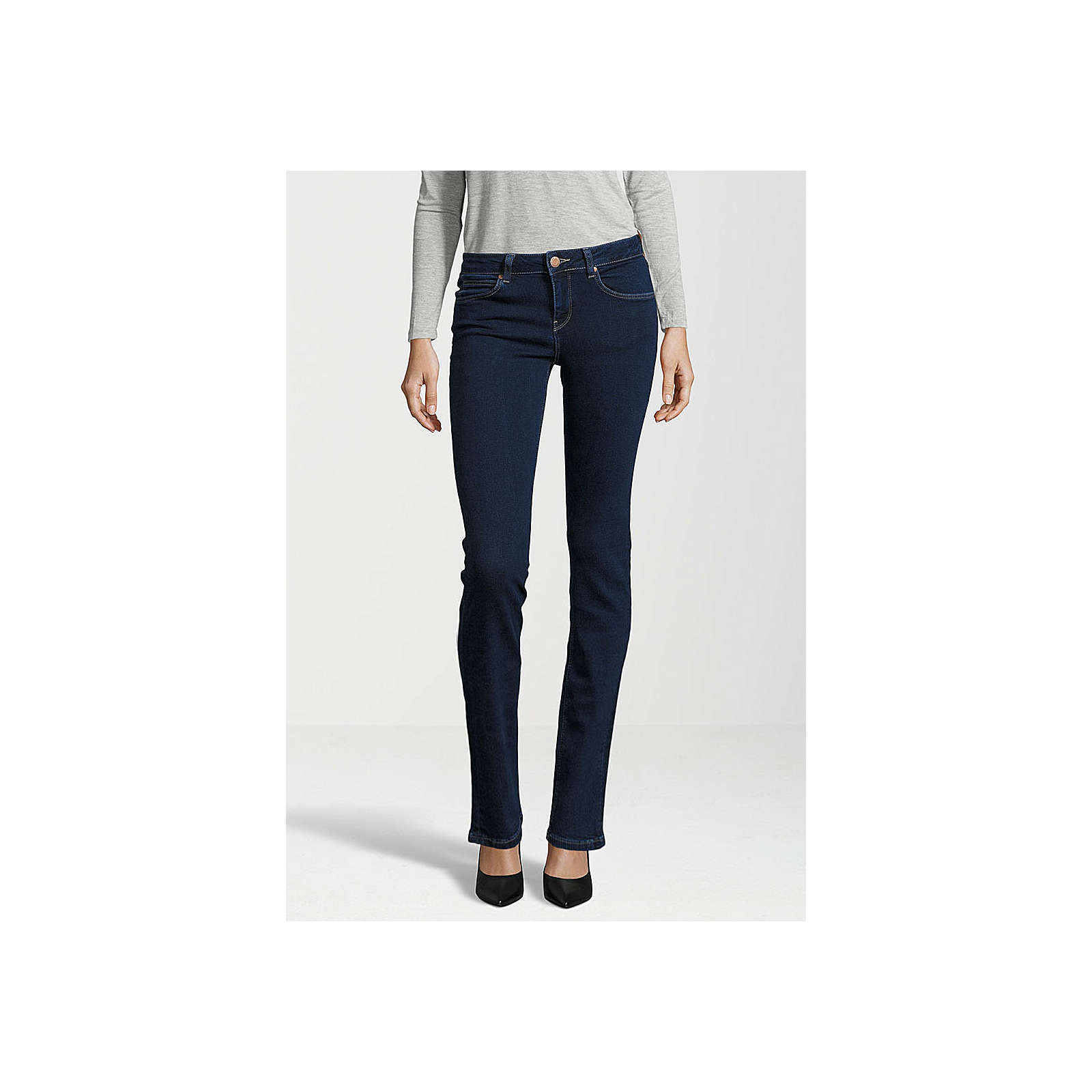 Gin Tonic Jeans STRAIGHT plain dark Jeanshosen dunkelblau Damen Gr. W26/L32