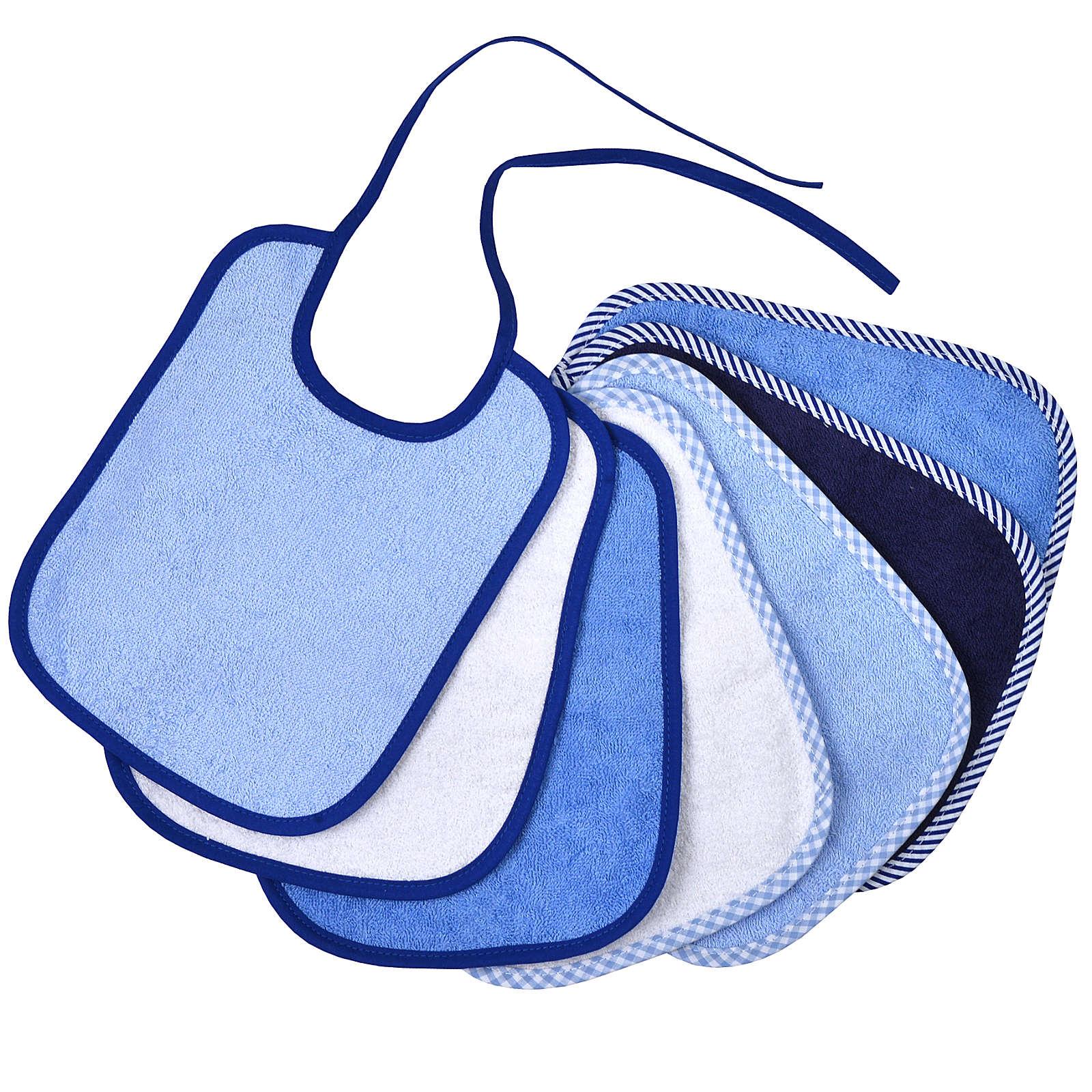 Wörner Bindelätzchen 7er Set, blau, 20 x 25 cm blau Junge Gr. 25 x 30