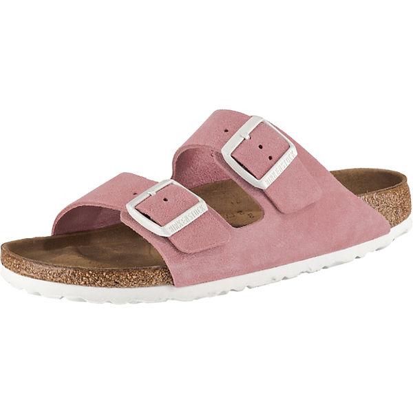 separation shoes 40b4c dc2af BIRKENSTOCK, Arizona Weichbettung Veloursleder schmal Pantoletten, rosa