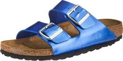 BIRKENSTOCK, Arizona Birko Flor schmal Pantoletten, blau