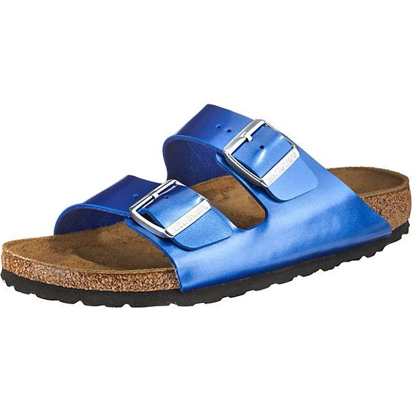 separation shoes eb742 bca94 BIRKENSTOCK, Arizona Birko-Flor schmal Pantoletten, blau