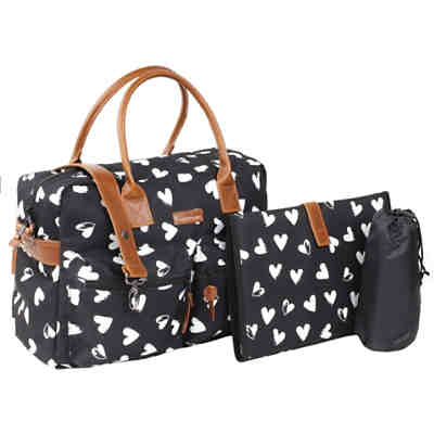 Wickeltasche, black/hearts