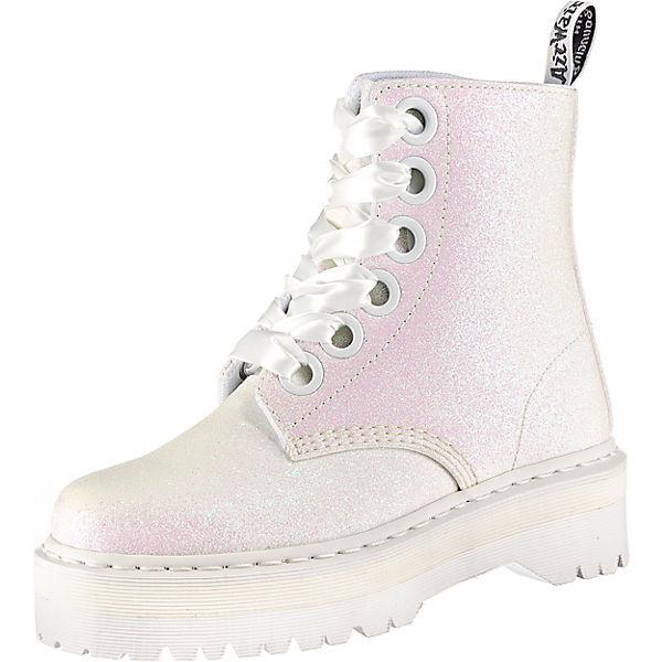 on feet images of order online popular stores Dr. Martens, Molly Glitter 6-Loch Plateau Damen Stiefelette, weiß