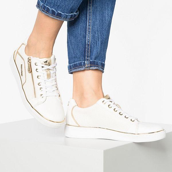 MUSTANG, Turnschuhe Low, weiß Gold  Gute Qualität beliebte Schuhe