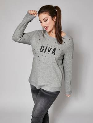 Angel of Style Sweatshirt mit Frontprint grün langarm Baumwolle motiv Damen
