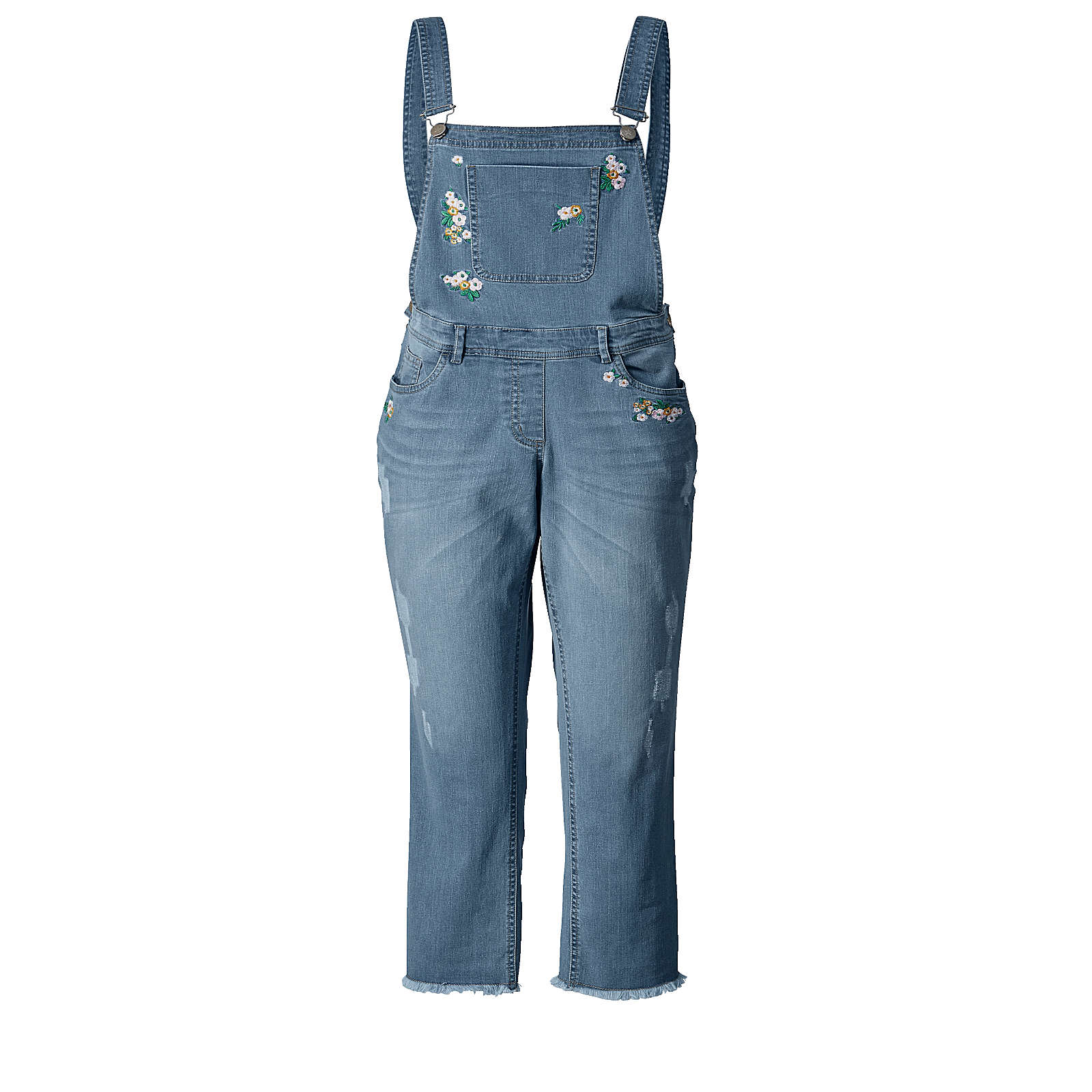 Angel of Style Latz-Jeans knöchellang mit Fransensaum blue denim Damen Gr. 48