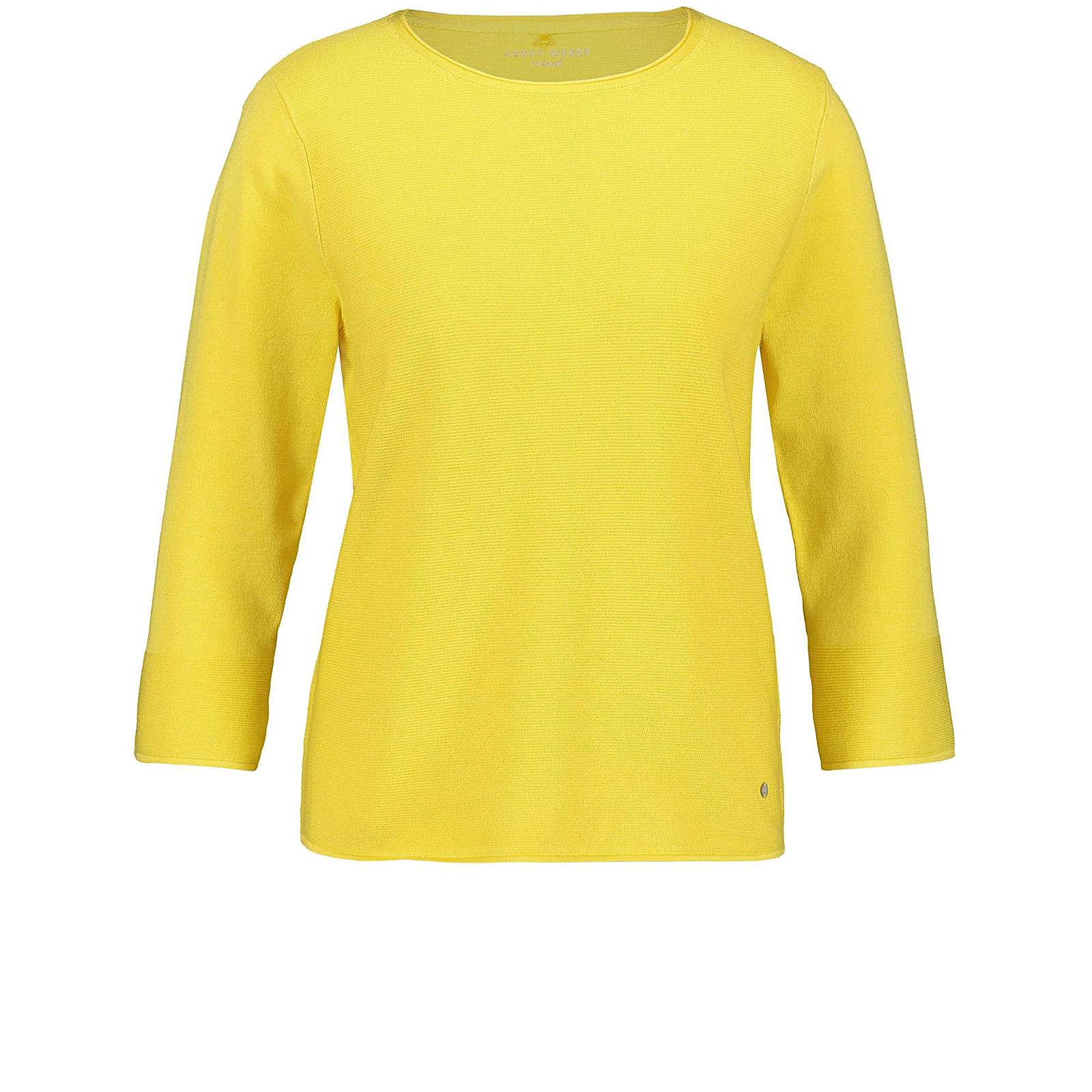 Gerry Weber Pullover 3/4 Arm Rundhals 3/4 Arm Pullover mit Strukturstrick gelb Damen Gr. 48