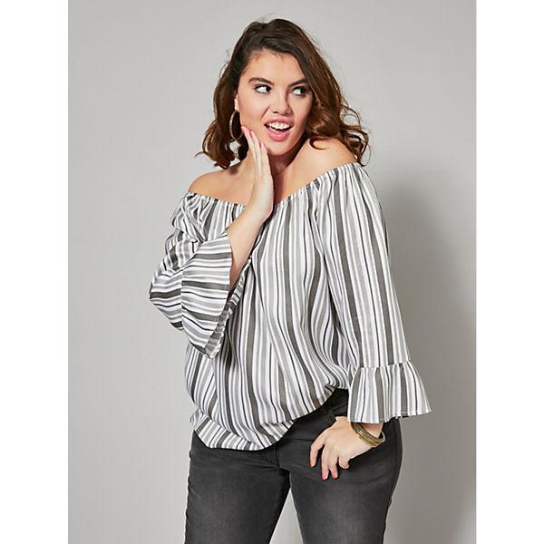 Gestreift Angel bluse Style Carmen Grau Of qUGLMVzSp