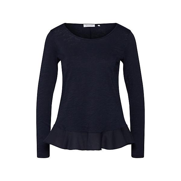 Slub Richamp; Shirt Blau Rich Peplum Langarmshirts Royal amp;royal BedCxo
