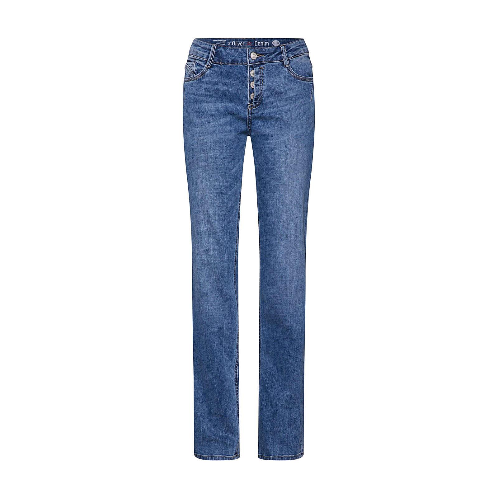 s.Oliver RED LABEL Jeans SMART STRAIGHT Jeanshosen blue denim Damen Gr. 34/L30