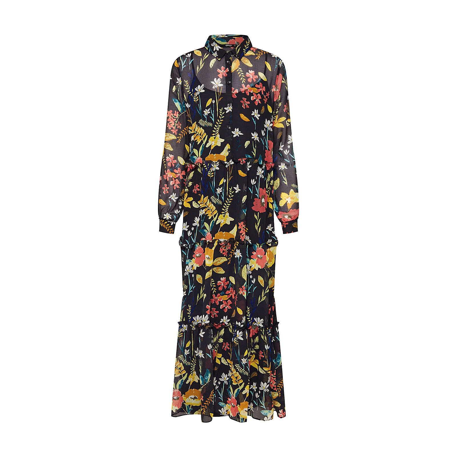 ONLY Blusenkleid onlNORA LS MIDCALF Blusenkleider weiß Damen Gr. 36