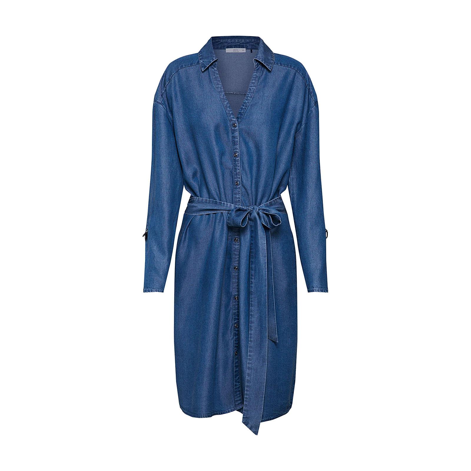 EDC BY ESPRIT Blusenkleid ECOM Blusenkleider blau Damen Gr. 36