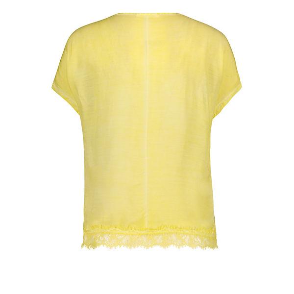 Spitzenkante Blusenshirt Blusenshirt Mit Gelb Public Public Mit pjUGLVzMqS