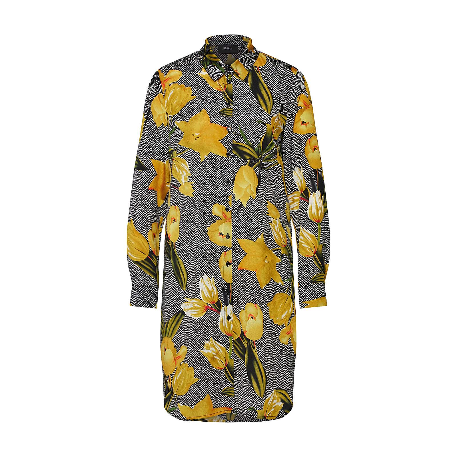 OBJECT Blusenkleid Blusenkleider schwarz Damen Gr. 36