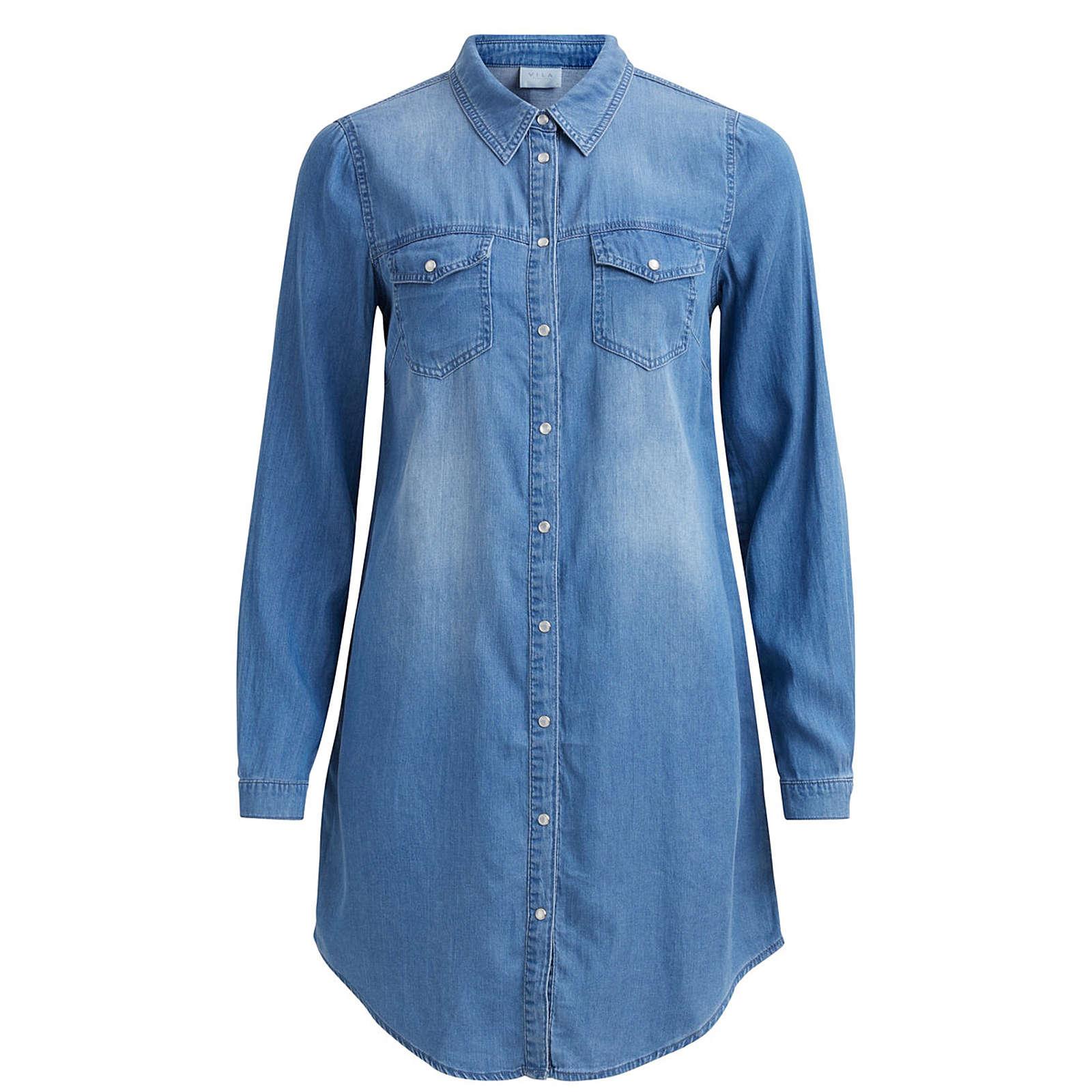 VILA Blusenkleid Blusenkleider blue denim Damen Gr. 40